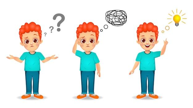 L'enfant de garçon mignon recherche le processus d'idée