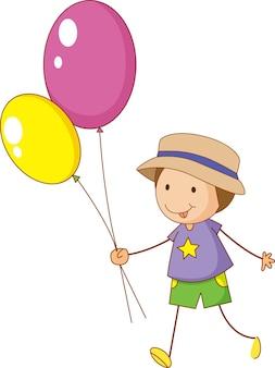 Un enfant de griffonnage tenant le personnage de dessin animé de ballons isolé