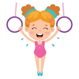 Enfant heureux, faire de l'exercice de gymnastique