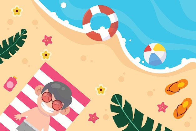 Enfant heureux sur l'illustration de vacances à la plage