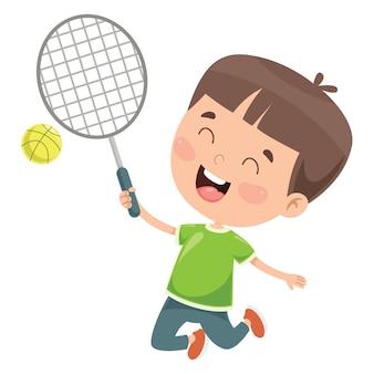 Enfant heureux mignon jouant au tennis