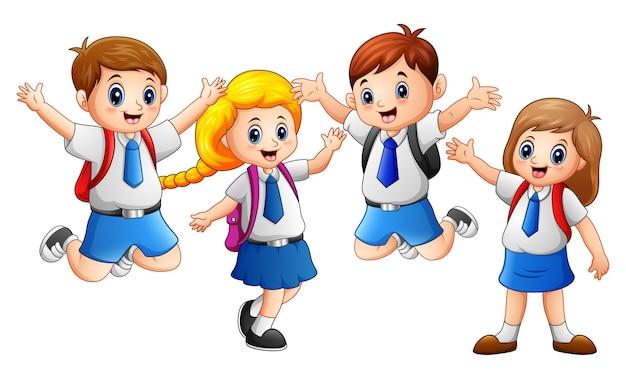 Enfant heureux, porter l'uniforme, aller à l'école