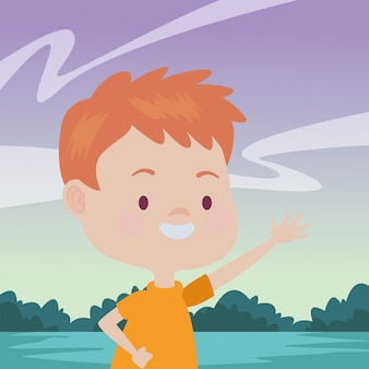Enfant heureux s'amusant des dessins animés
