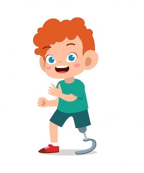 Enfant heureux avec le vecteur jambe prosthétique