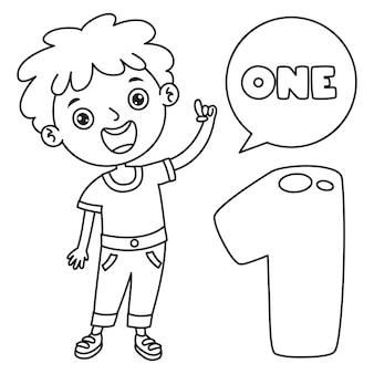 Enfant indiquant un, dessin au trait pour les enfants coloriage