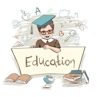 Enfant intelligent tenant conseil d'éducation