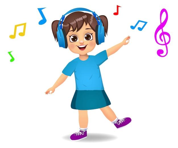 Enfant De Jolie Fille écoutant De La Musique Vecteur Premium