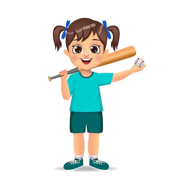 Enfant de jolie fille jouant au baseball