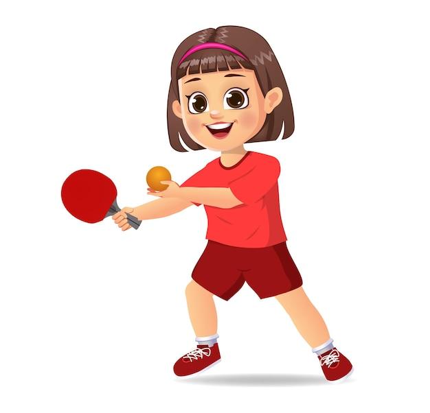 Enfant de jolie fille jouant au tennis de table