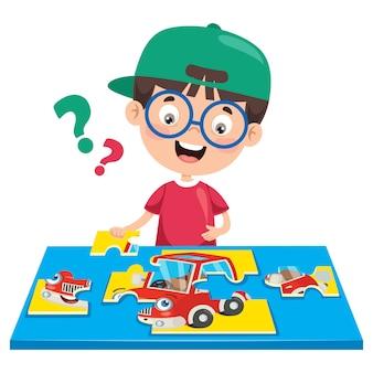 Enfant jouant au puzzle coloré