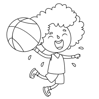 Enfant jouant avec ballon, dessin au trait pour enfants coloriage