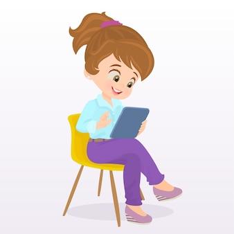 Enfant jouant sur une tablette ipad