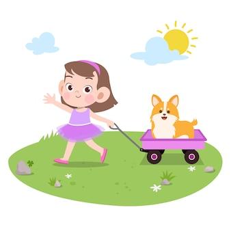 Enfant joue avec illustration vectorielle chien