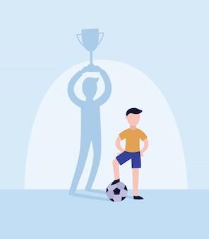 Enfant, un joueur de football laisse tomber l'ombre du gagnant avec illustration vectorielle plane trophée coupe.