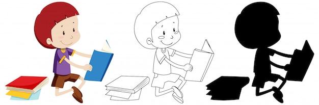 Enfant lisant le livre en couleur et contour et silhouette