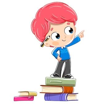 Enfant sur des livres montrant quelque chose