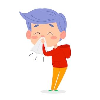 Enfant malade garçon éternue. l'enfant a un symptôme de rhume ou d'allergie.
