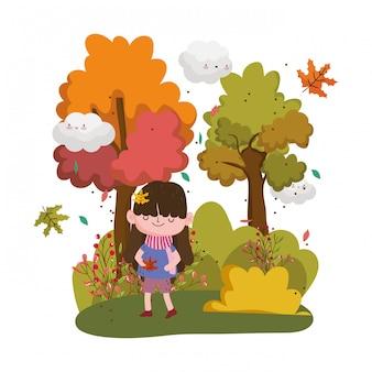Enfant mignon bonjour l'automne