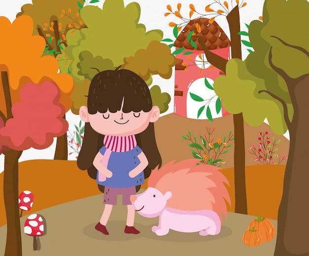 Enfant mignon bonjour illustration d'automne