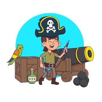 Enfant mignon dans un costume de pirate dans un environnement pirate. illustration.