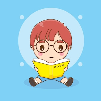 Enfant mignon avec des lunettes lisant une illustration de dessin animé de livre