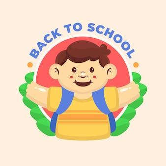 Enfant mignon retour à l'école logo mascotte illustration design plat