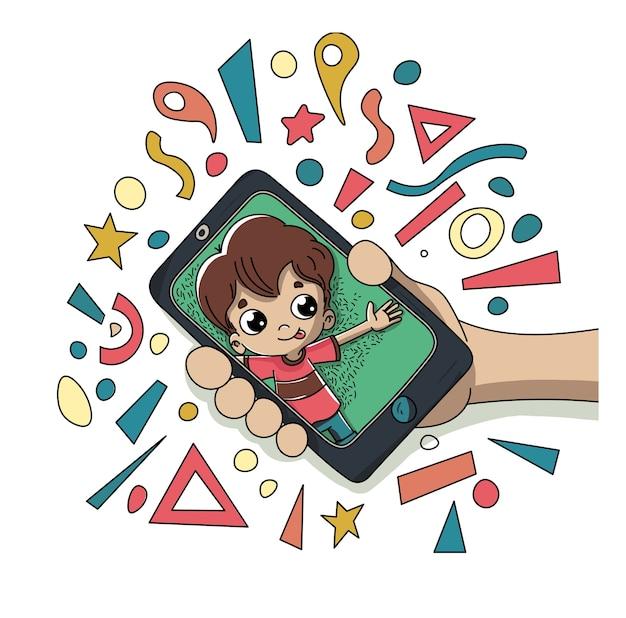 Enfant avec un mobile