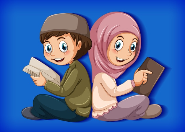 Enfant musulman lisant des livres