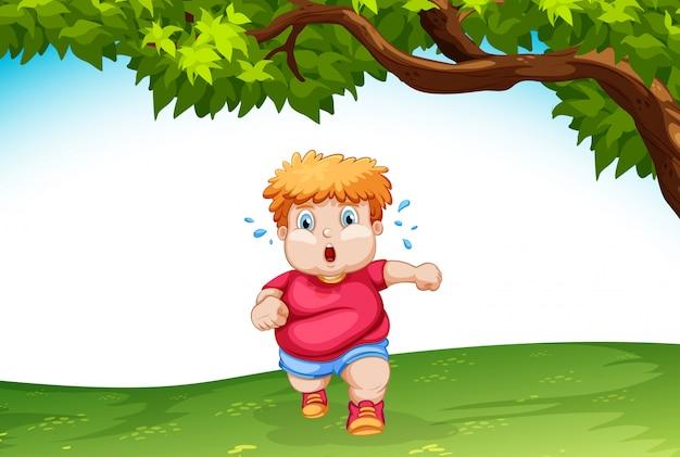Enfant obèse courant à l'extérieur