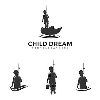 Enfant pêche logo design modèle illustration vecteur