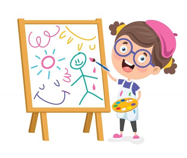 Enfant peignant un cadre