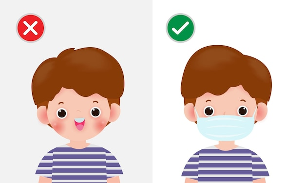 Enfant portant et ne portant pas de masque infographique
