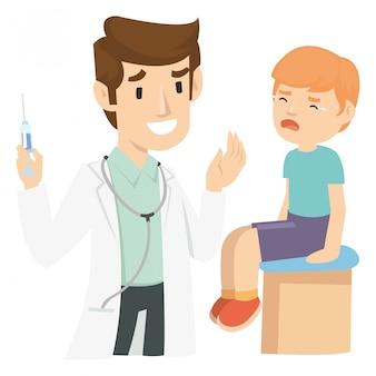 Un enfant qui pleure après une injection par un pédiatre