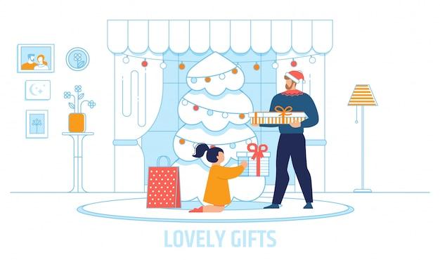 Enfant recevant de beaux cadeaux de l'illustration du père