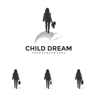 Enfant rêve logo design modèle illustration vecteur