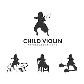 Enfant rêve violon logo design modèle illustration vecteur