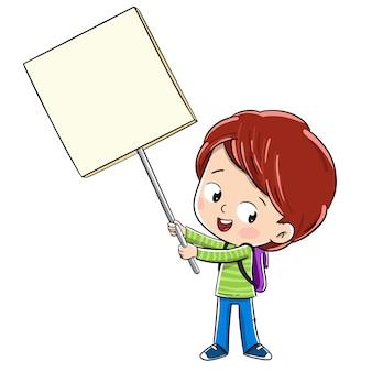 Enfant tenant une pancarte annonçant ou se manifestant pour quelque chose