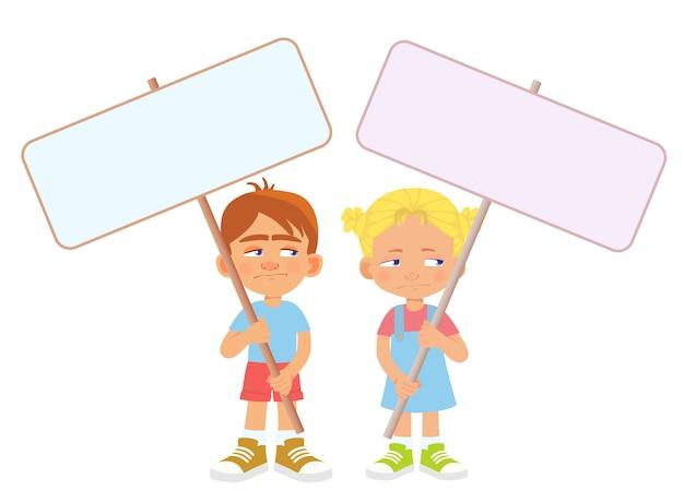 Enfant, tenue, bannière