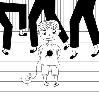 Enfant timide parmi les adultes