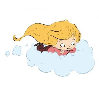 Enfant volant avec nuage