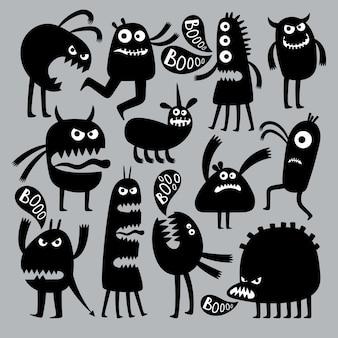 Les enfants abstraits craignent le caractère de monstre. silhouette noire