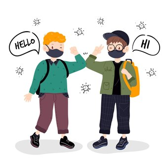Les enfants accueillent dans la nouvelle normalité à l'école