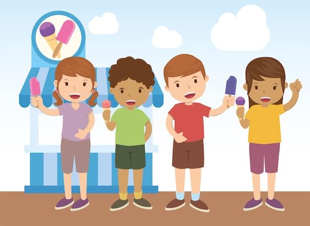Enfants achetant de la glace sur un magasin de glaces
