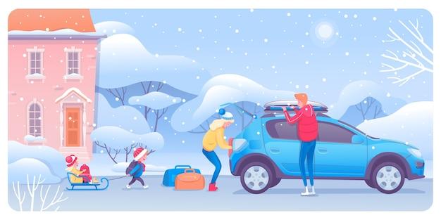 Enfants et adultes emballant des personnages de dessins animés de voitures
