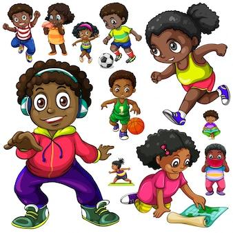 Les enfants afro-américains font différentes choses