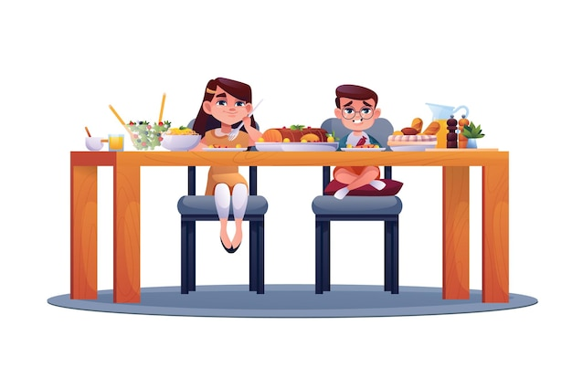 Les enfants d'âge préscolaire mangent de la nourriture isolée