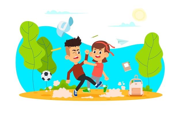 Les enfants agressifs se battent. jeu de caractères de dessin animé enfants intimidation. violence d'agression infantile. style plat