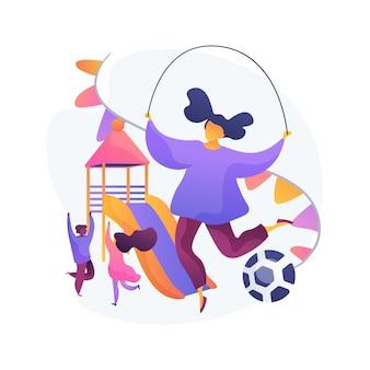 Enfants sur aire de jeux. les enfants jouent ensemble. parc de la maternelle, activité préscolaire, garderie d'été. des amis s'amusant. fille avec corde à sauter.