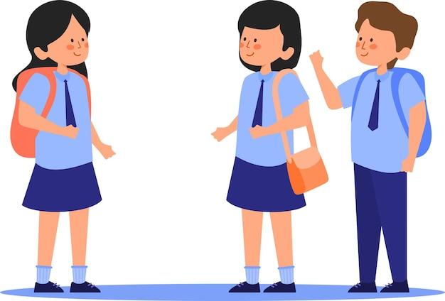 Enfants allant à l'école illustration vectorielle plane