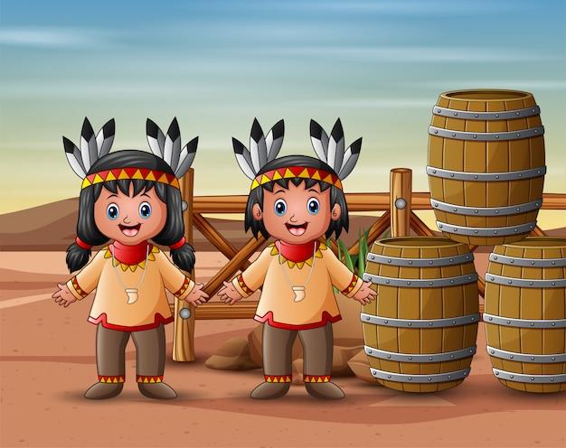 Enfants amérindiens dans le désert